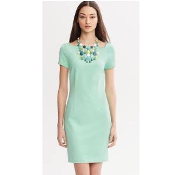 e3734bdbe62 Banana Republic Dresses   Skirts - Banana Republic mint green ponte square-neck  dress